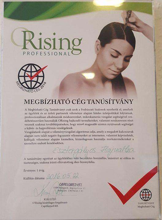 ORising megbizható cég tanúsítvány - hajgyógyászat